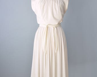 1960s Day Dress...MARC of CALIFORNIA Winter White Jersey Day Dress