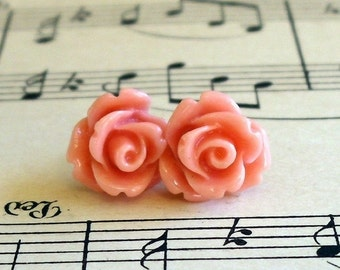 Tiny Coral Rose Posts Resin Earrings