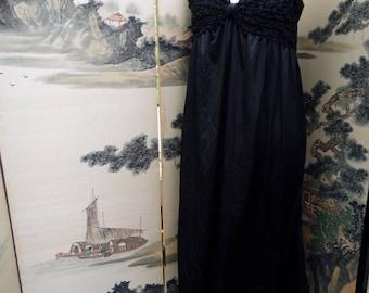 Plus Size Vintage Lingerie Nylon Nightgown Vintage Lingerie Sleepwear Black sz 18-20