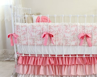 Pink, Taupe, and White Baby Girl Bedding Set with Ombre Ruffle Skirt and Gold Shimmer Accents, 3-Piece Bumper Set for Custom Nursery