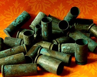 1/4 Pound of Green Patina Brass BULLET Shell Casings - bead caps, steampunk mixed 22 caliber, 9mm luger, 40 caliber, 45 caliber  1/4-Mx-Gp