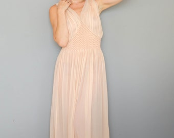 Vintage 1930's Sheer Peach Accordion Pleated Nightgown