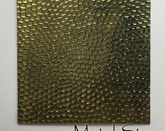 "Textured Brass Sheet 2.5"" x 3"" - Dimple Pattern 42 - Great for Jewelry or Rolling Mill impressions"