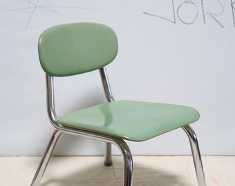 Vintage Industrial Green Children's School Chair #2