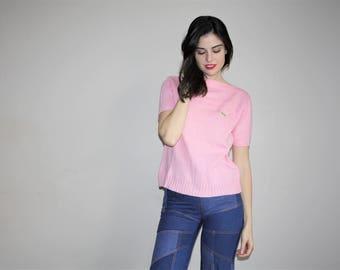Vintage  1970s Izod Lacoste Preppy Pastel Pink Sweater T Shirt - 70s Lacoste Shirts - W00773