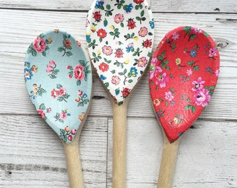 Decorative Decoupage Wooden Spoons using Cath Kidston designs. FREE shipping to all UK addresses