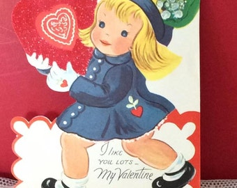 Vintage 1950s Valentine Card Little Girl Wearing A Hat Collectible Scrap Book Art Craft Supplies Paper Ephemera