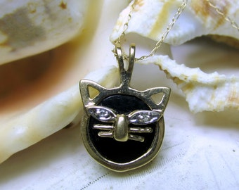 10k Kitty Cat Necklace Pendant w Onyx & Diamond Eyes 1.7g 10k Chain Inc