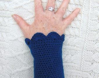 Hand Crocheted Wristlet Navy Blue Crochet Wrist Cuff Handmade in Ireland