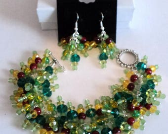 Jewelry Set, Cha Cha Bracelet, Dangle Earrings, Gypsy Jewelry, Boho Jewelry, Shabby Chic Jewelry, Green and Yellow - RAINFOREST