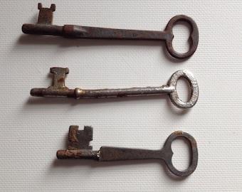 Antique Keys Rusty Vintage Skeleton Key Lot of 3 Rustic Old Industrial