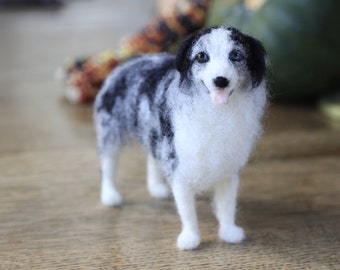 Made to order custom needle felted dog, memorial, portrait, wool sculpture, Australian Shepherd or your dog's breed