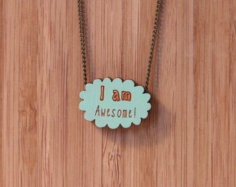 I am awesome hand painted necklace