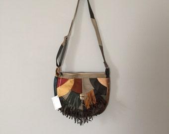 patchwork leather hobo bag | fringed southwestern purse