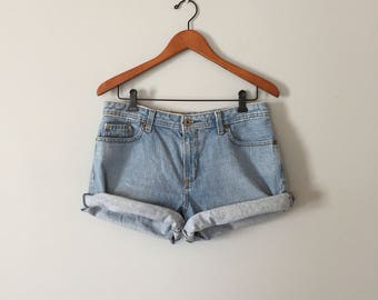 80s Ralph Lauren cuffed shorts | acid wash mini cuffed shorts