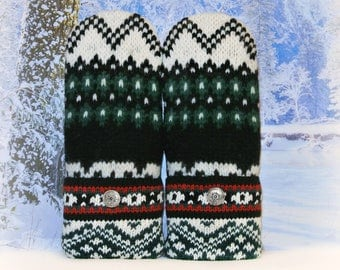 Nordic Green Black White & Red Wool Felted Women's Recycled Sweater Mittens