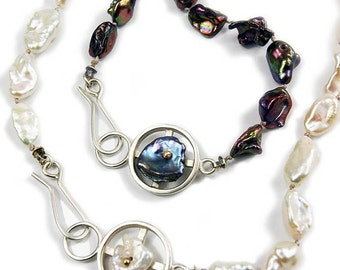 Keshi Pearl Strand with Sterling Silver Feature and Clasp