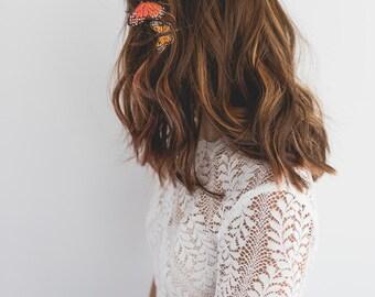 butterfly hair pin set of 2 // orange butterfly hair pins / orange monarch butterfly hair clips