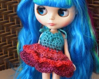 Blue and Pink Blythe Doll Dress, Blythe Lace Dress, Crochet Blythe Doll Dress, Blythe Tutu, Blythe Petal Dress, Crochet Doll Dress
