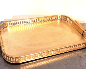 vintage gold serving tray - 1950s Sylvan Anodised Ware gold metal mid century tray