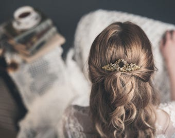 Wedding hair comb - Gold bridal hair comb - Hair comb for wedding - Leaf hairpiece