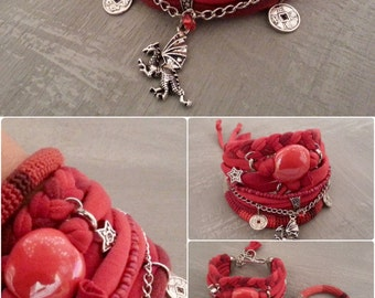 Gypsy Soul Red Bohemian Bracelet Pack, MultiStrand Cuff Boho Chic Jewelry, Free Spirit Dragon Charm Chinese Coins Stars Bracelet