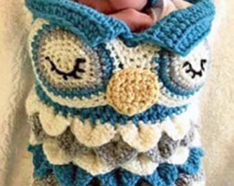 Newborn Owl Cocoon Crochet Pattern - Newborn Cocoon Crochet Pattern - Crocodile Stitch Crochet Pattern - Newborn Owl Cocoon - Baby Owl Hat