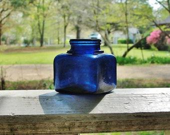 Antique Cobalt Blue Glass Unembossed Square Ink Bottle