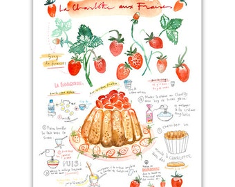 Strawberry shortcake recipe print, French Kitchen decor, Food art, Red home decor, Watercolor recipe, Cake painting, Bakery print, Dessert