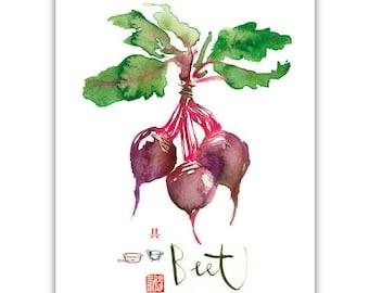 Purple beet watercolor print, Vegetable print, Kitchen wall art, Food poster, Watercolor veggie painting, Home decor, Garden illustration
