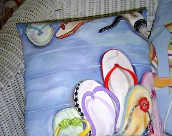 Flip Flops Pillow 14x14 Hand Painted Original Art Pillow Whimsical Beach House Decor Summer Fun Colorful Cottage Accent