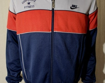80's Nike - Corporate Fitness - Employee polyester tri-color striped grey red navy blue running gym workout track jacket NWT - men's sz M/L