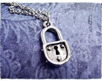 Silver Padlock Necklace - Silver Pewter Padlock Charm on a Delicate Silver Plated Cable Chain or Charm Only