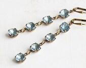 Long Blue Earrings, Denim Blue Rhinestone Earrings on Antiqued Brass Hooks, Light Blue Dangle Earrings, Vintage Style Jewelry