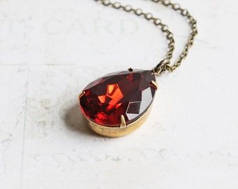 Autumn Color Pendant, Topaz Rhinestone Drop Necklace on Antiqued Brass Chain, Large Teardrop Necklace, Fall Jewelry