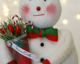 Red and Green Sweet Handmade Snowman