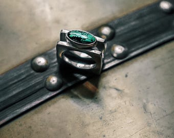 NEBULOUS TURQUOISE Silver Oval Cat Eye See No Evil Ring