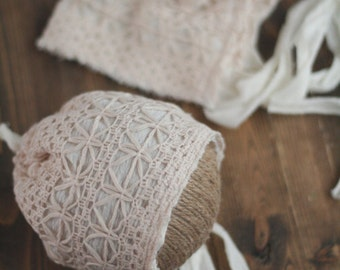 Newborn Cream Knit Lace Fabric Bonnet - Newborn Photography Prop