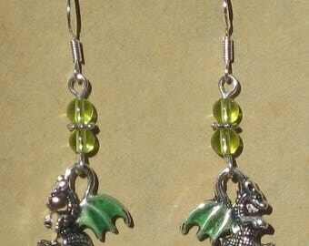 Enameled Dragon Beaded Earrings