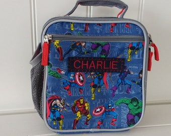 Kids Lunch Box Personalized (Pottery Barn) -- Blue Marvel