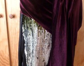 Purple velvet shawl scarf/Free shipping in U.S.