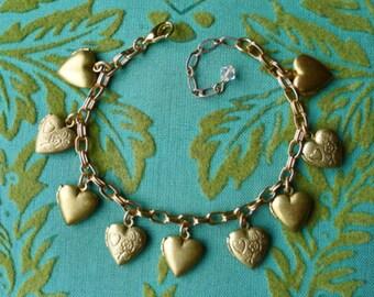 Hearts of Gold // Vintage 1950s Heart Locket Charm Bracelet, Sweetheart Romantic Engraved Art Deco Pinup Boho Retro Valentines Memento Mori