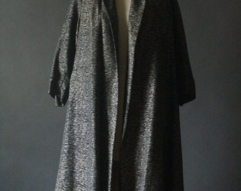 Vintage 50's Black, Silver and Gold Metallic Grosgrain Tafetta Swing Coat