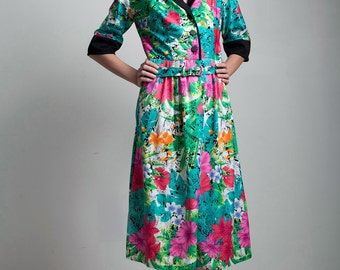 belted shirt dress 70s vintage bright green colorful floral shirtwaist LARGE L