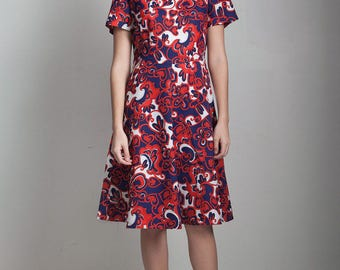 red white blue a-line day dress floral scroll print vintage 70s short sleeve knee length LARGE L