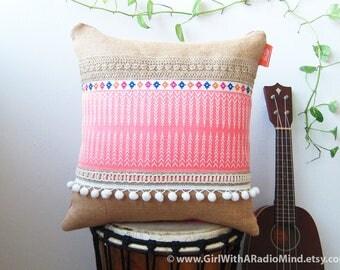 Pink Burlap Pillow Jute with Light Pink Navajo Motif - Folk Cottage Decorative Cushion Cover
