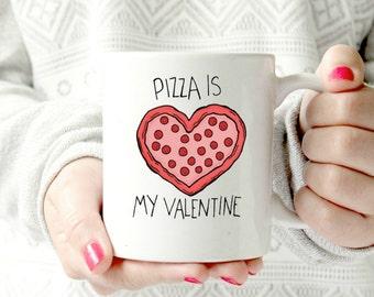 Pizza mug. valentine's day gift ceramic mug.