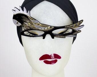 DEADSTOCK 1950s Handmade French Lucite PARROT BIRD Eyeglasses Sunglasses w Gold Metal Studs & Rhinestones - Made in France - Paulette Guinet