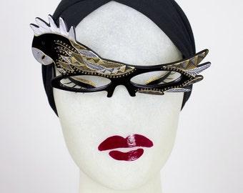 RESERVED 1950s Handmade French Lucite PARROT BIRD Eyeglasses Sunglasses w Gold Metal Studs & Rhinestones - Made in France - Paulette Guinet