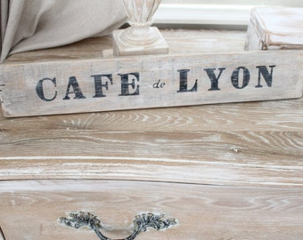 Sign, CAFE de LYON France, Heavy Wine crate slats wood vintage salvage, Counter, tabletop, Cabinet sign French,